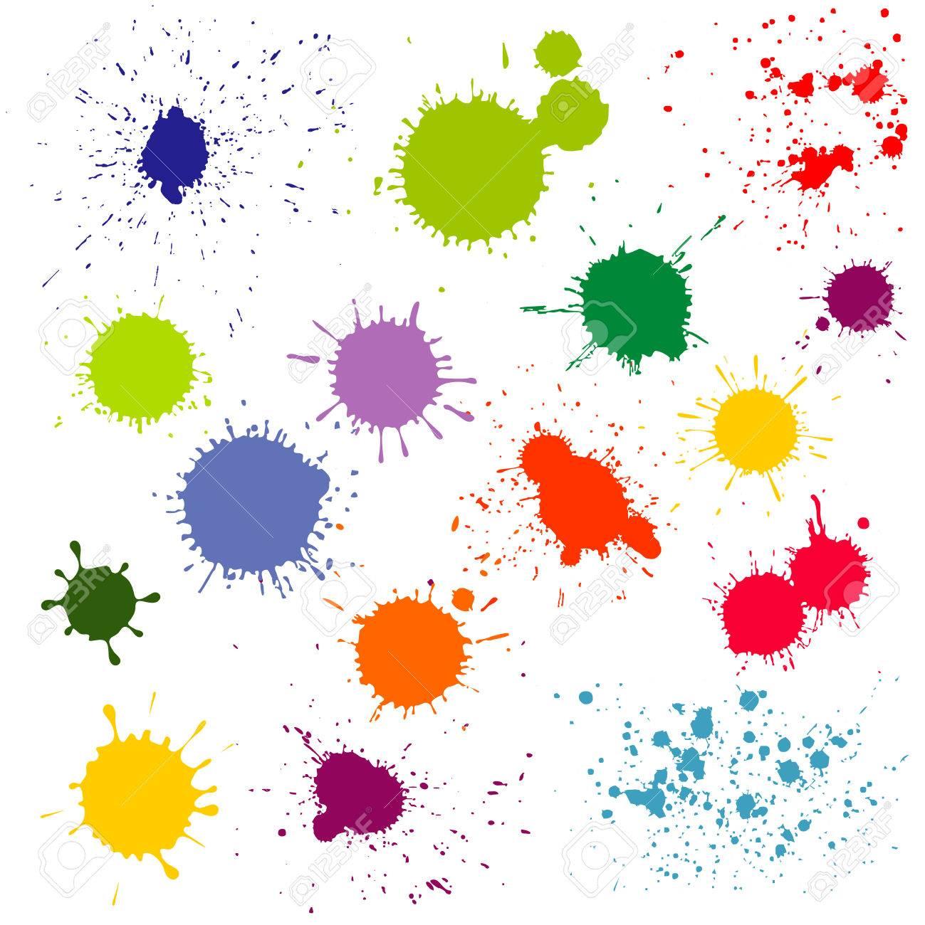 Couleur Eclaboussures De Peinture Taches D Encre Collection De Vecteur Splash Et Colore Tache Illustration Clip Art Libres De Droits Vecteurs Et Illustration Image 61856020
