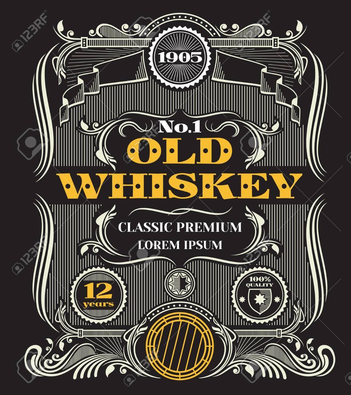 Retro Victorian Whiskey Vector Label Template Emblem For Bottle Of Alcohol Beverage Illustration Stock