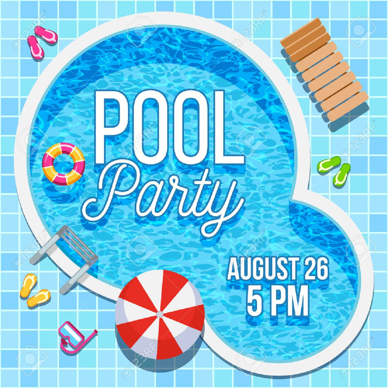 Summer Pool Party Invitation With Nobody Water Swimming Pool ...