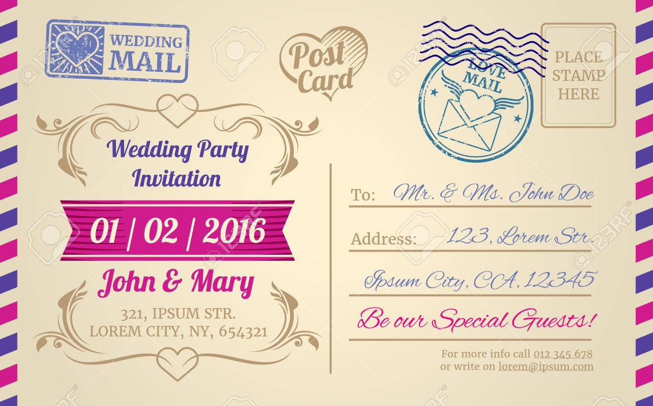 Vintage Postcard Vector Template For Wedding Invitation, Love ...