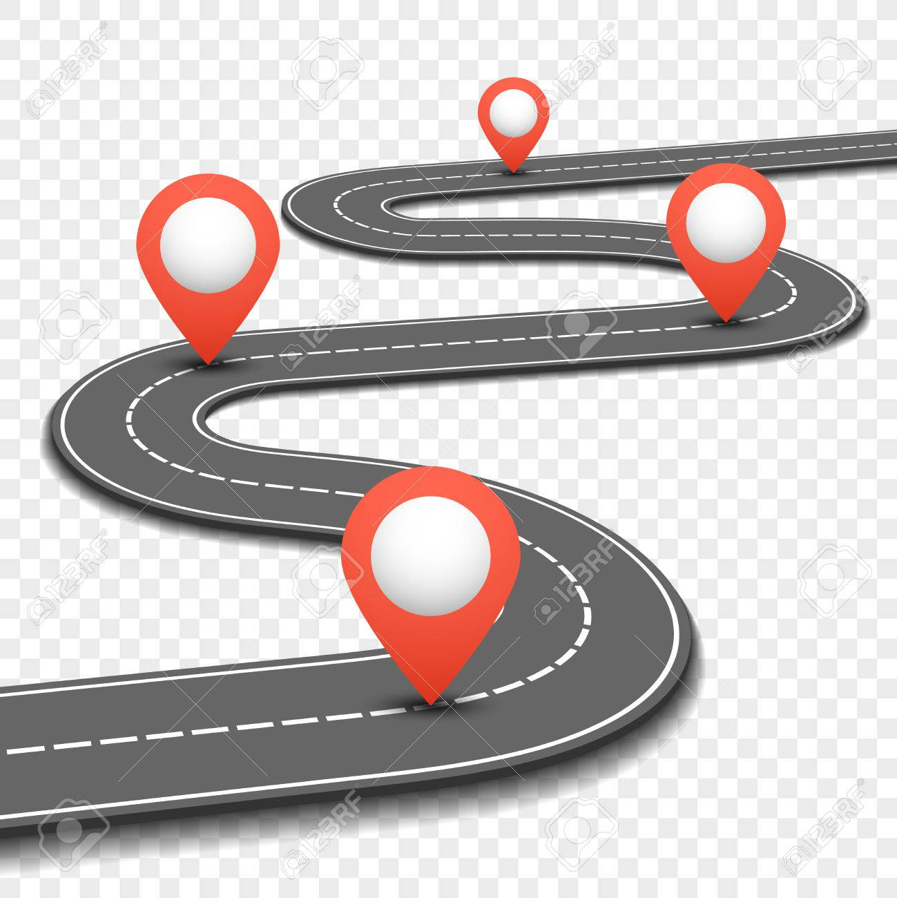 Car road, street, highway business roadmap infographics design. Way and direction plan with red pins sign. Vector illustration - 61856571