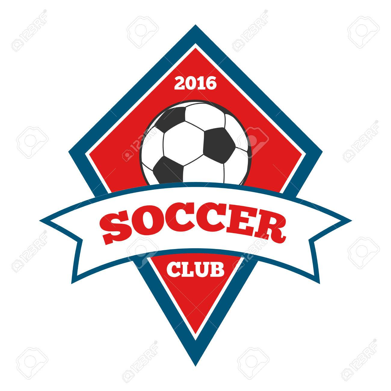 Vector   Vector Soccer Logo, Badge, Emblem Template In Red And Blue For  Tournament Football Illustration