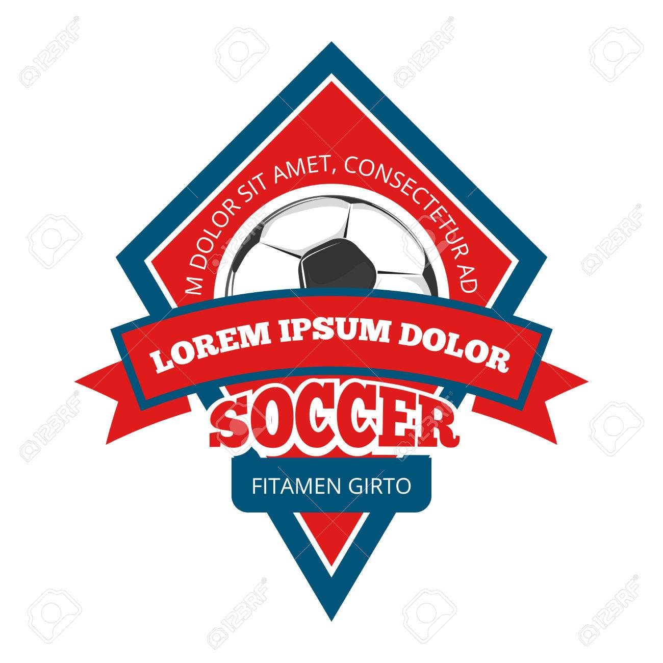 Vector Soccer , Badge Emblem Template In Red And Blue For Tournament ...