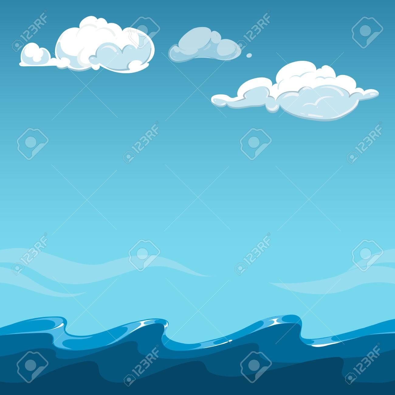 海背景に青い空。屋外の海と雲、ベクトル イラスト ロイヤリティフリー