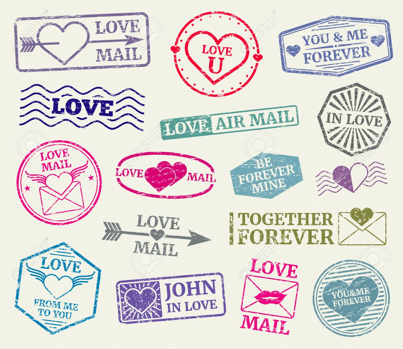 Romantic Postage Stamp For Valentines Day Card, Love Letters ...
