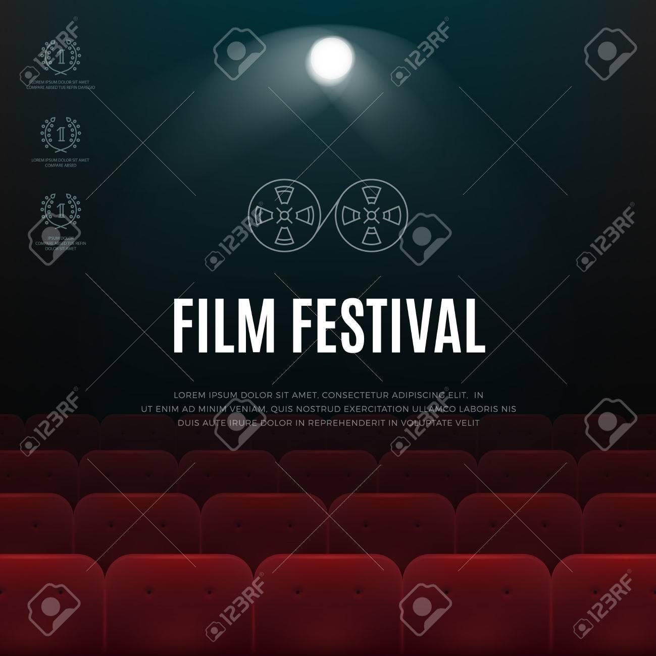 映画館、映画祭ベクトル抽象的なポスター、背景。シネマト グラフ祭り