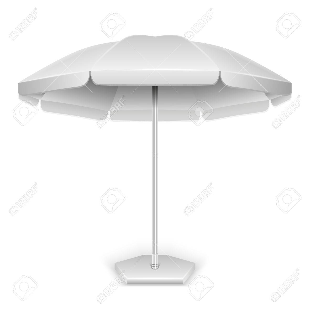 Vector   White Outdoor Beach, Garden Umbrella, Parasol For Protection From  Sun And Rain Isolated On White Background. Vector Illustration