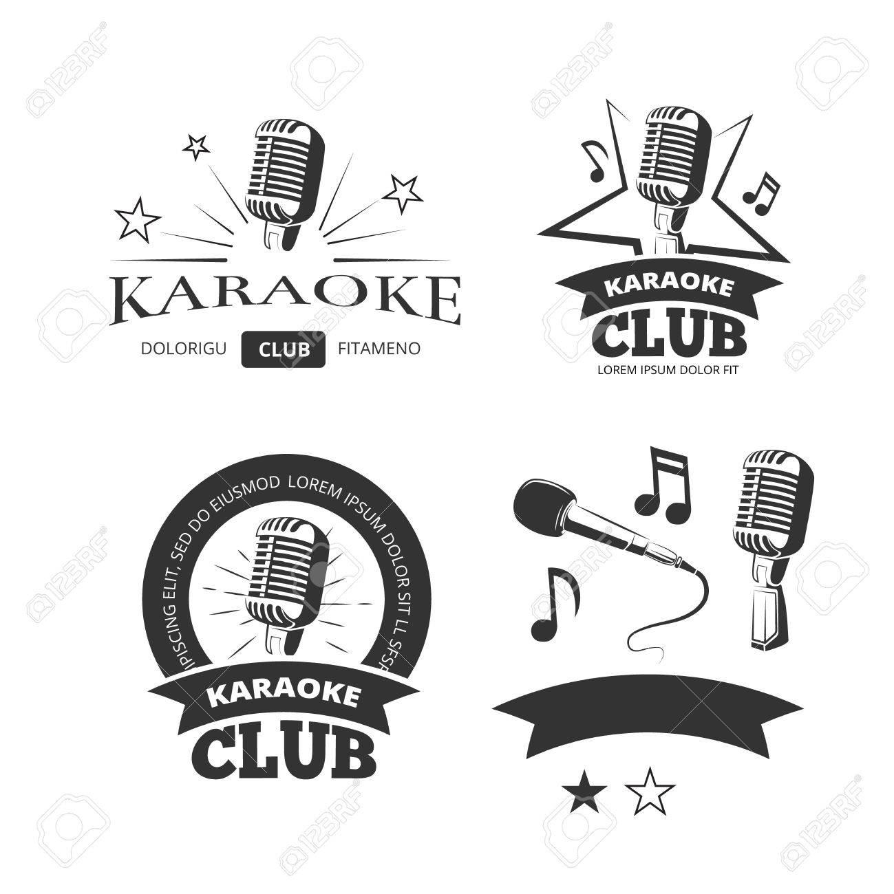 Vintage-Karaoke-Gesangs Partei Vektor-Etiketten Abzeichen Embleme ...