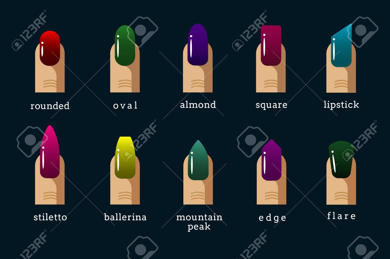 Different Nail Shapes And Nail Polish Colors Icons. Rounded And ...