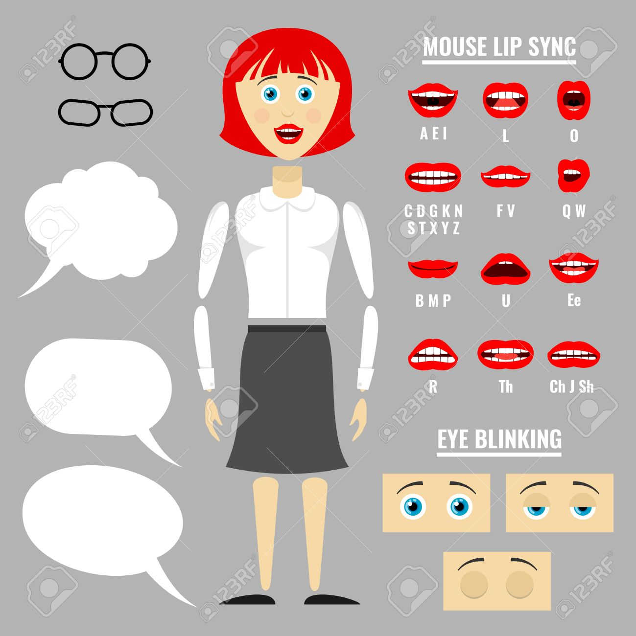 Ready To Animation Vector Parts Of Cartoon Girl Character Lip Movement  During Speech Illustration Stock Ready