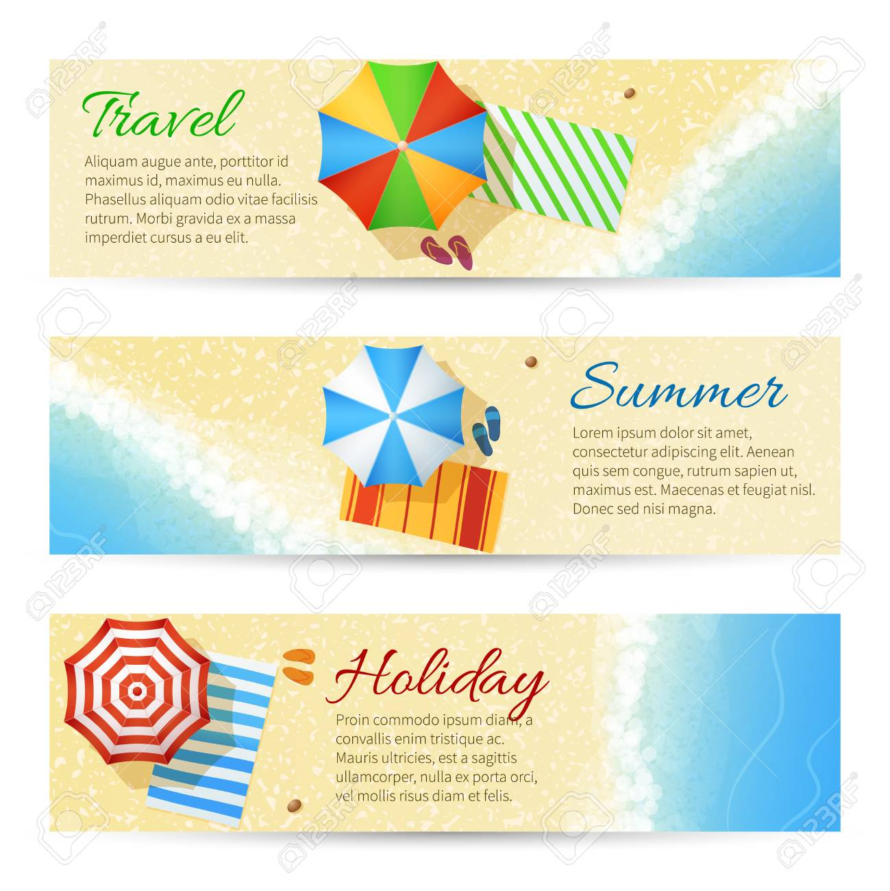 edfc37207502c Summer travel vector banners with sea beach. Umbrella with flip flops on sand  illustration Stock