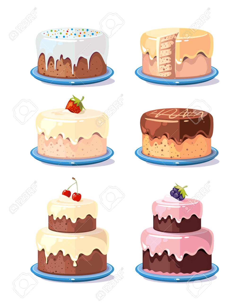 Cream Cake Tasty Cakes Vector Set In Cartoon Style Birthday With Chocolate And Fruits