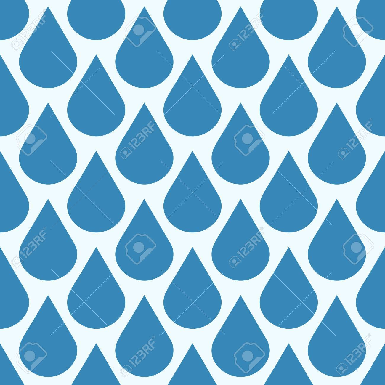 Blue vector falling water drops seamless pattern. Background wet condensation illustration - 63061285