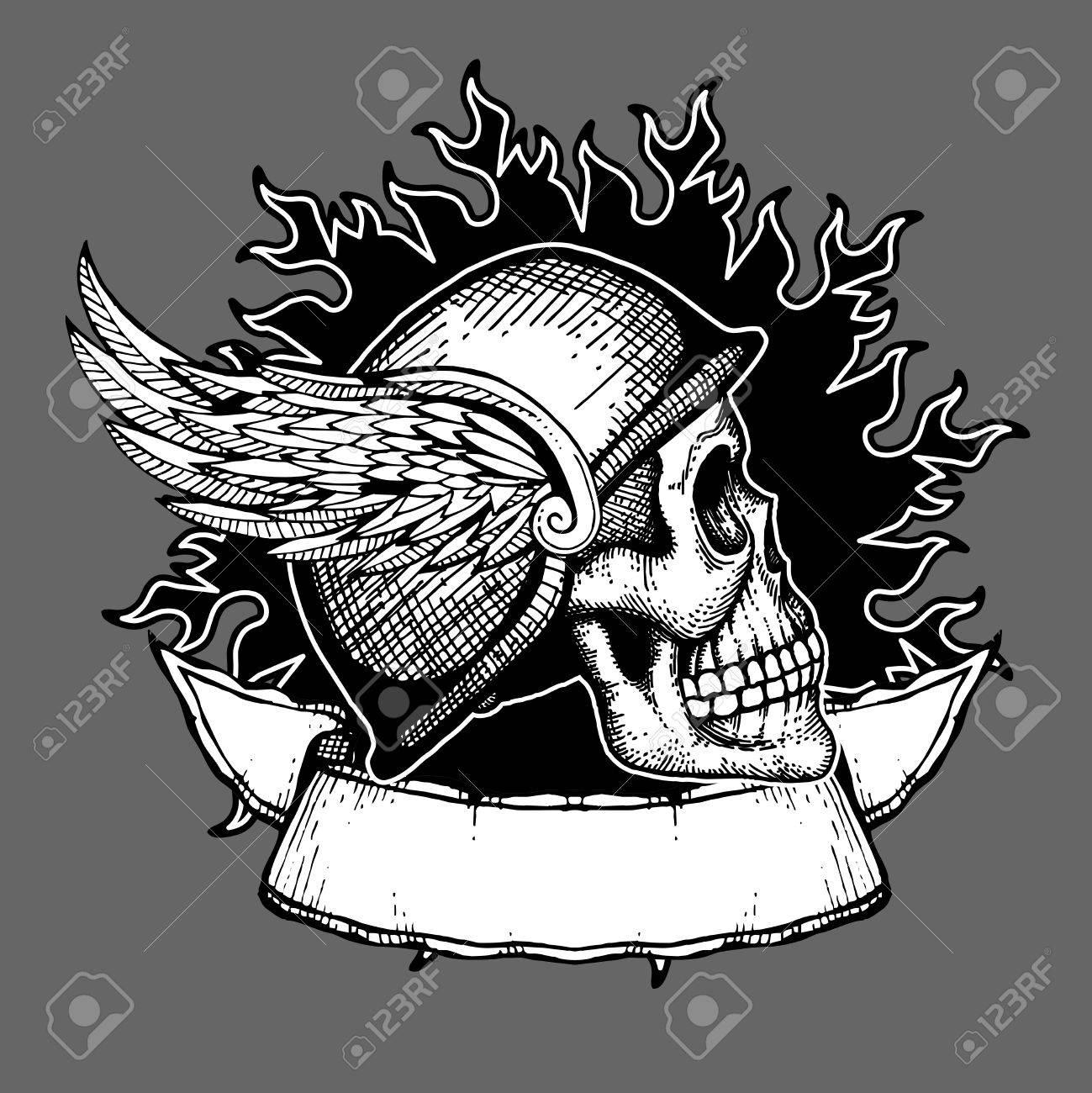 Motorcycle with biker tattoo - Retro Motorcycle Vector T Shirt Design Biker Skull Emblem Biker Tattoo Helmet With Wings Illustration