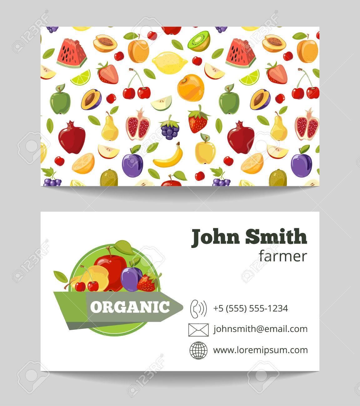 Organic Fruits Farmer Business Card Template. Fruit Farm Company ...