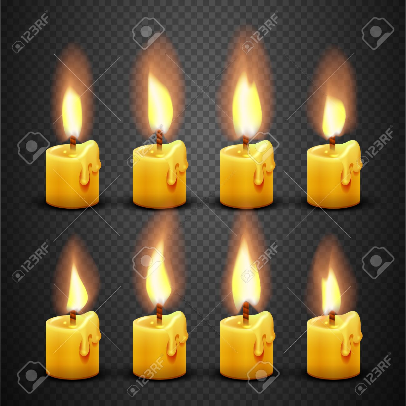 Vector Candle With Fire Animation On Transparent Background