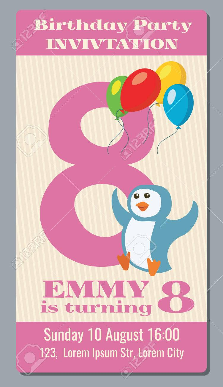 Birthday Party Invitation Pass Vector Ticket With Funny Penguin For Kids 8 Years Old