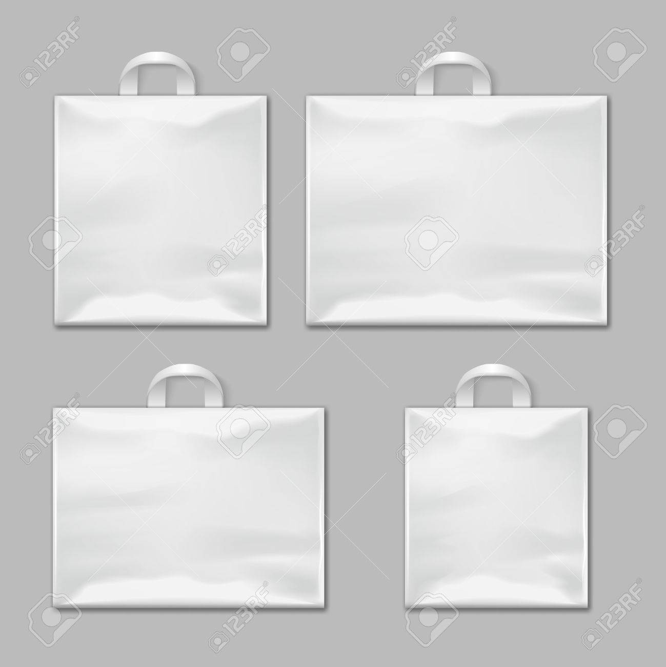White Empty Reusable Plastic Shopping Bags With Handles Vector ...
