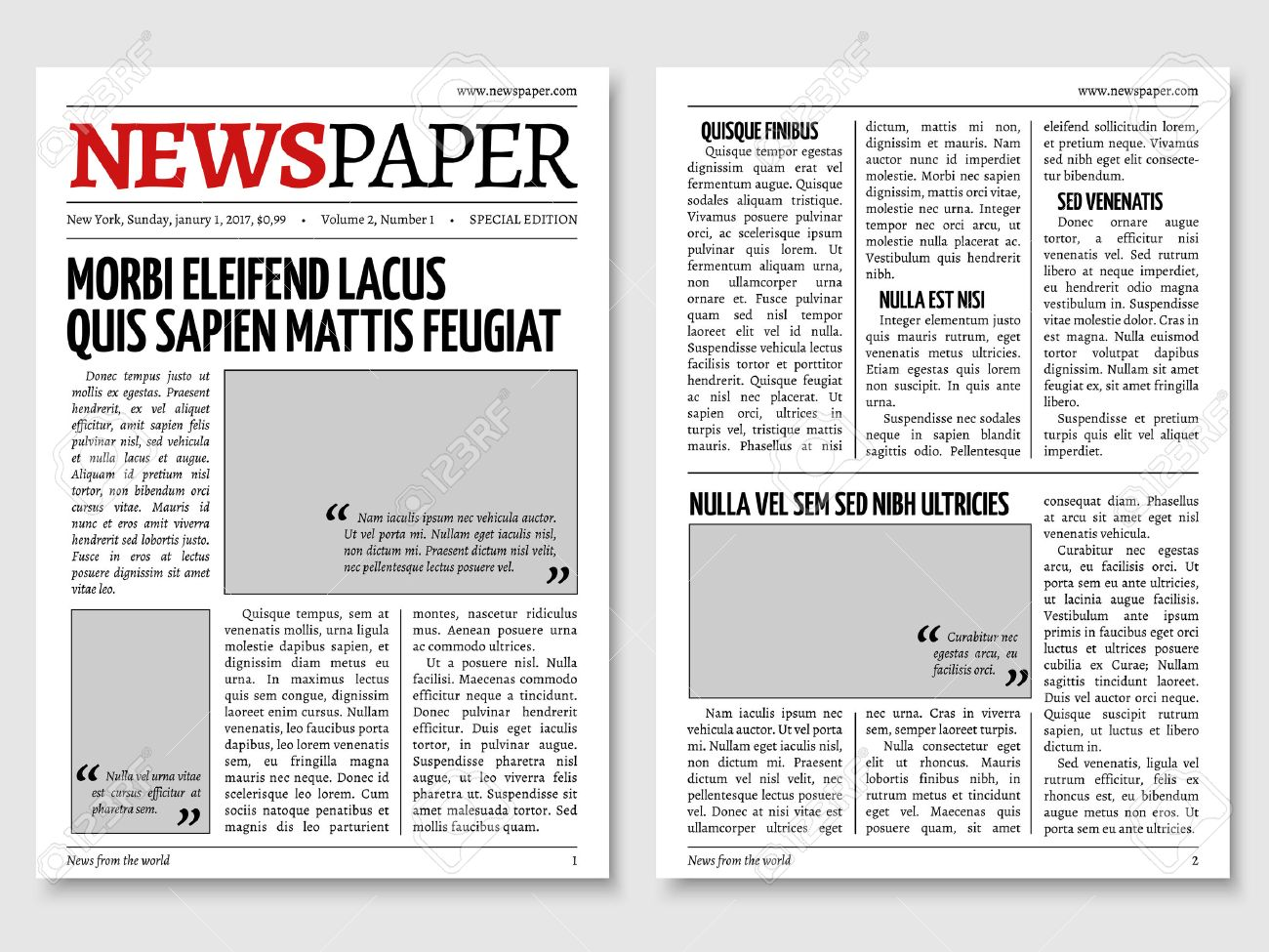 Vintage Newspaper Journal Vector Template. Paper Tabloid On ...