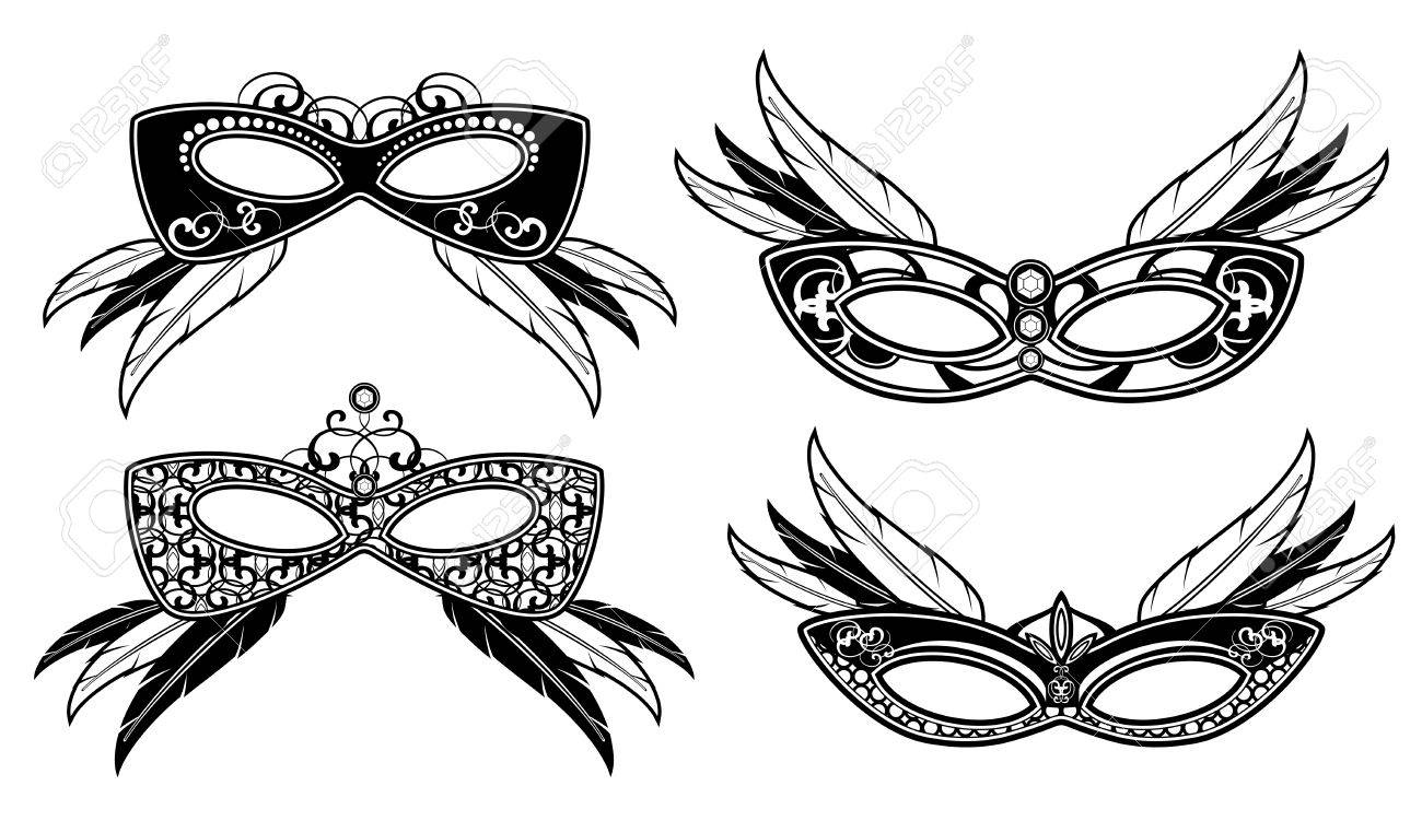 Veneto Masquerade Masks With Lace Luxury Pattern Vector. Carnival ...