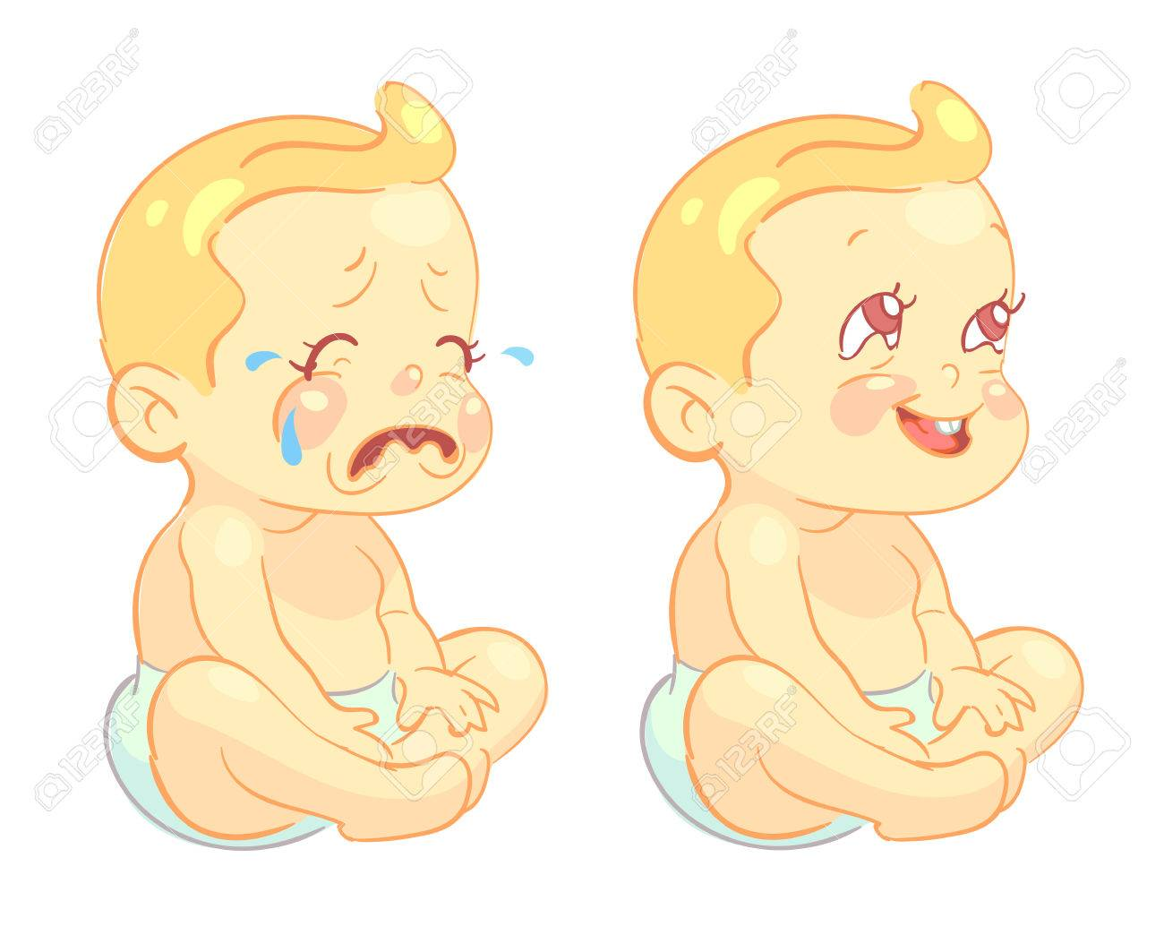 Smiling Toddler Baby And Crying Baby Vector Characters Infant - Toddler-cartoon-characters