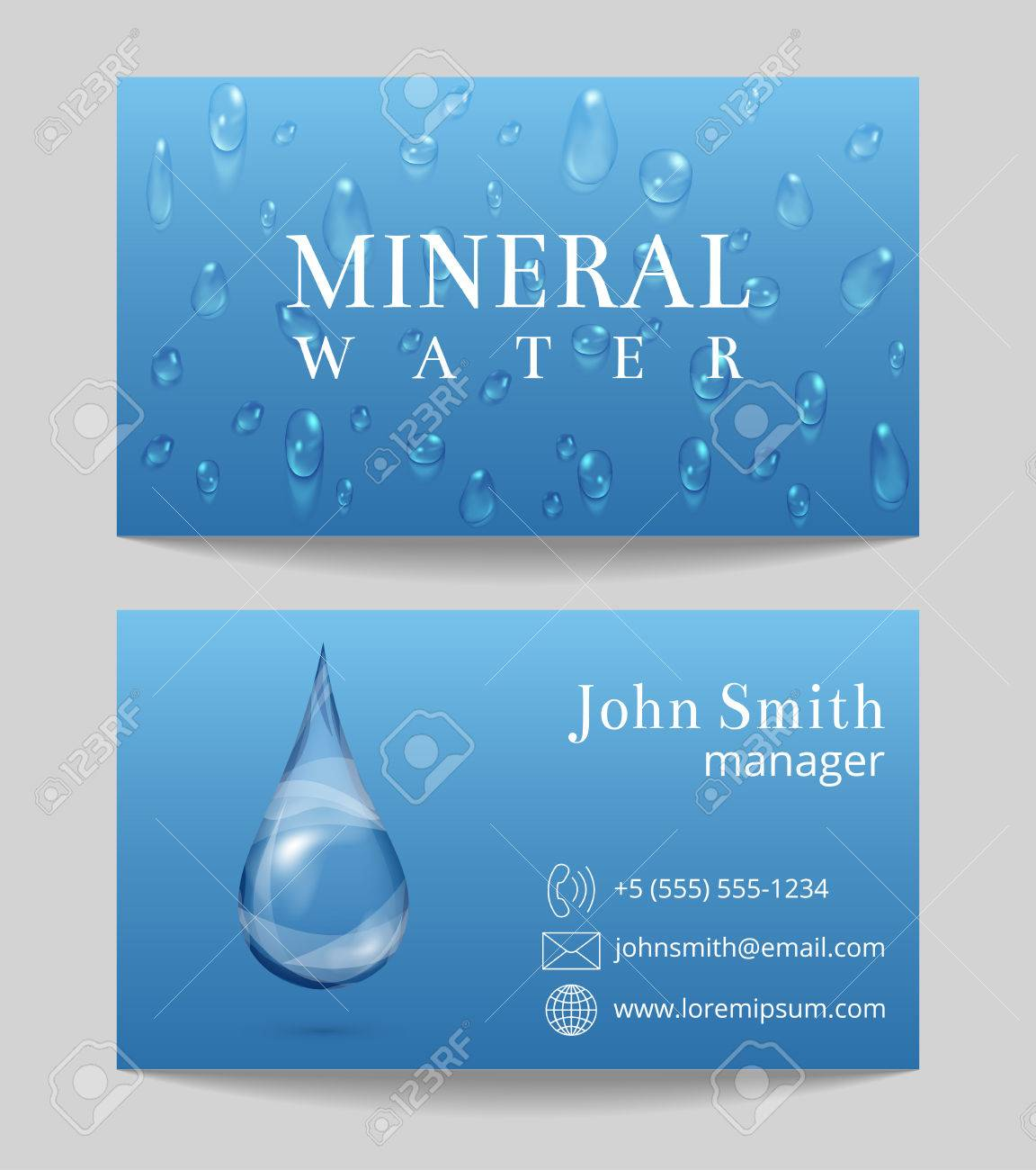 Mineral Water Delivery Business Card Both Sides Template. Drop ...
