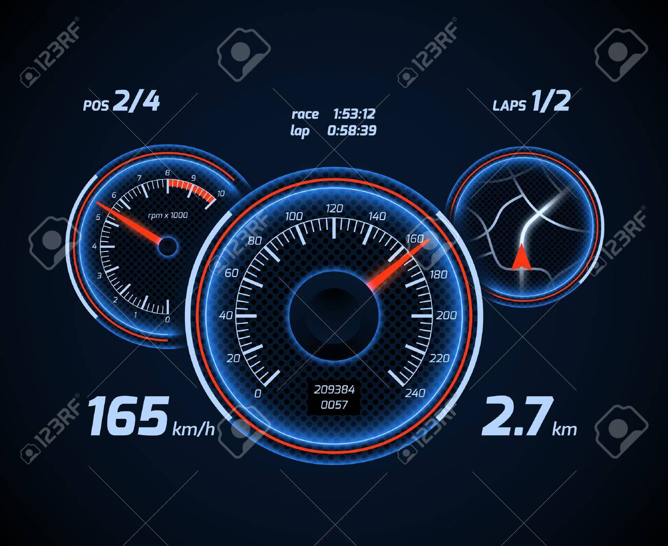 Racing car computer and app smartphone game dashboard with speedometer