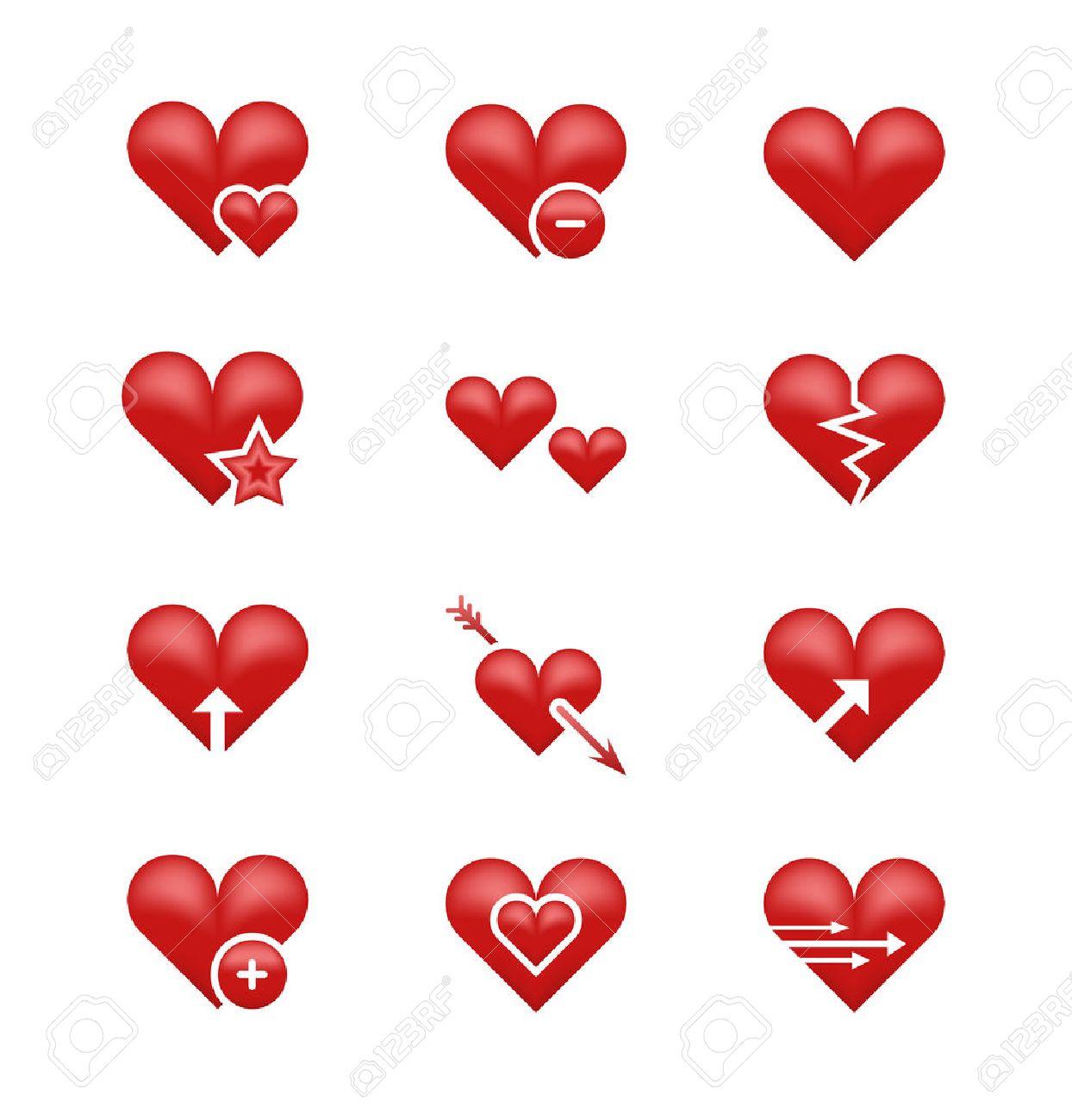 Heart Love Emoji Emoticons Vector Set Broken Heart Arrow And