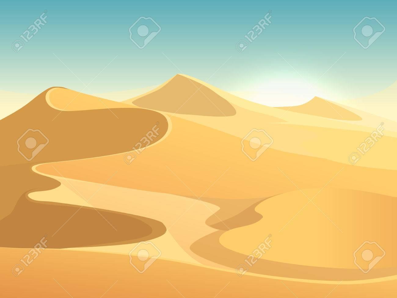 Desert dunes vector egyptian landscape background. Sand in nature illustration - 63723830