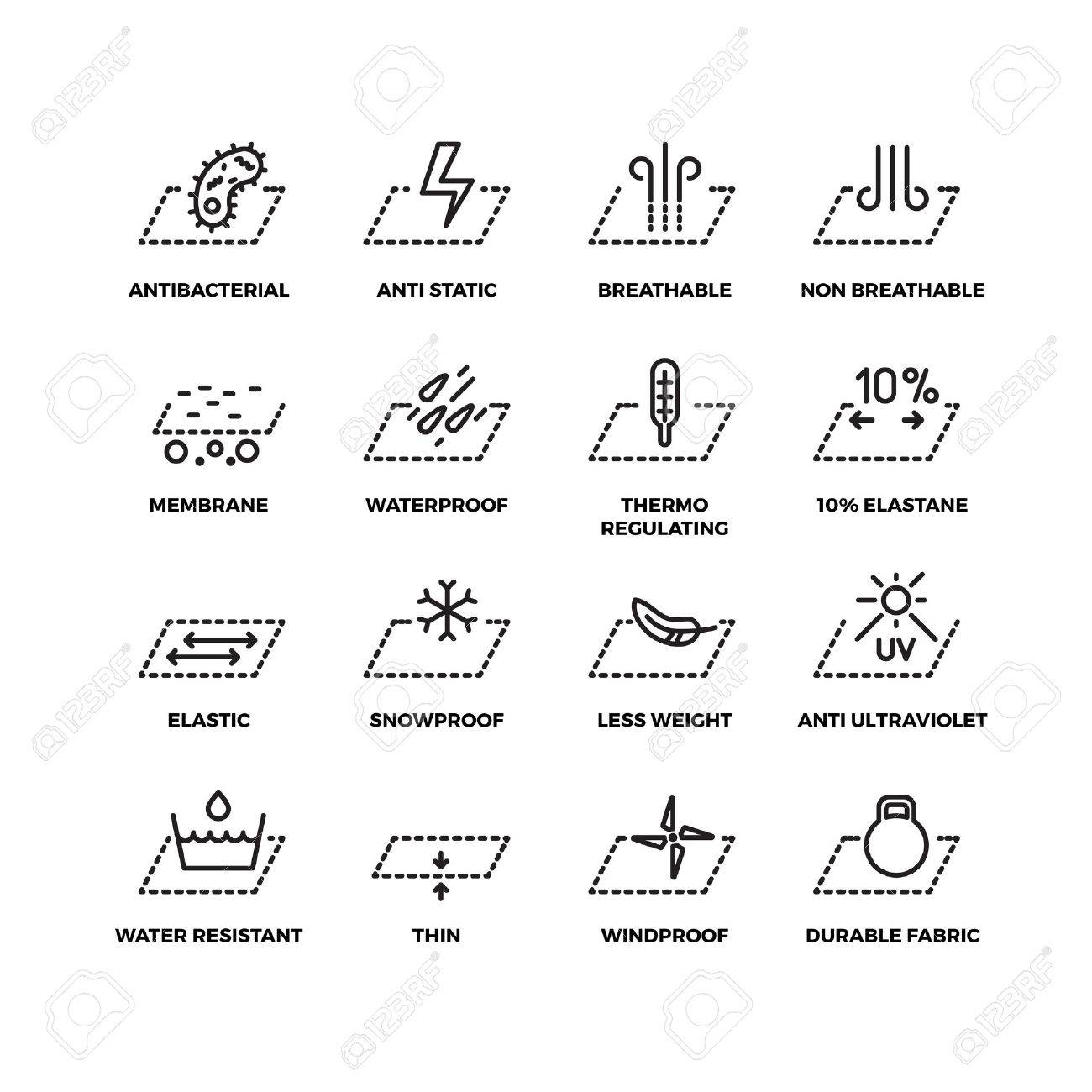 Fabric textile properties thin line vector icons. Material ventilation and waterproofing, breathable and snowproof illustration - 64788451