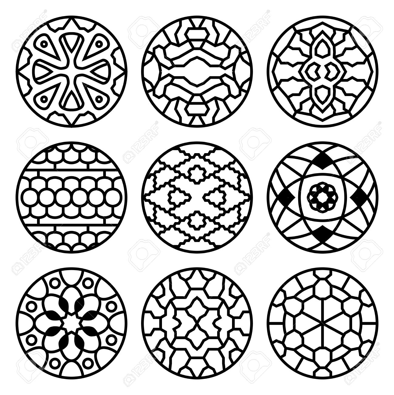 Korean Traditional Vector Ancient Buddhist Patterns Ornaments