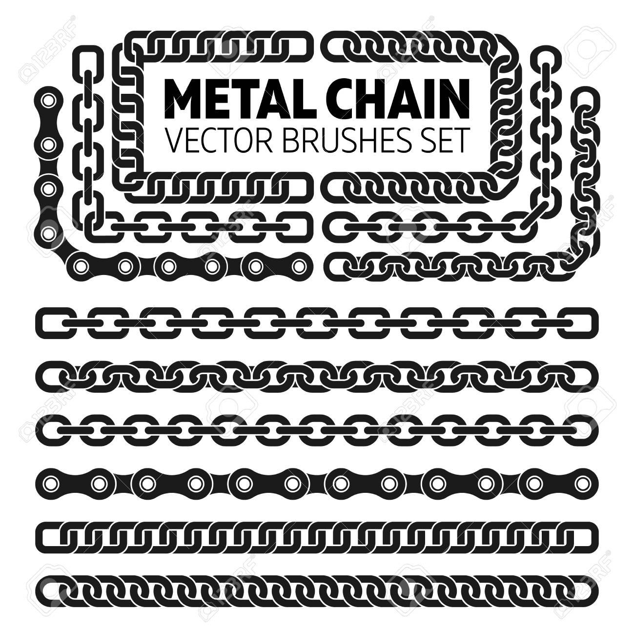 Metal chain links vector pattern brushes set  Interlink border