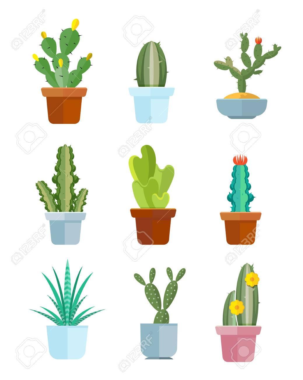 Cartoon cactus, desert plants vector icons  Bloom mexican cacti
