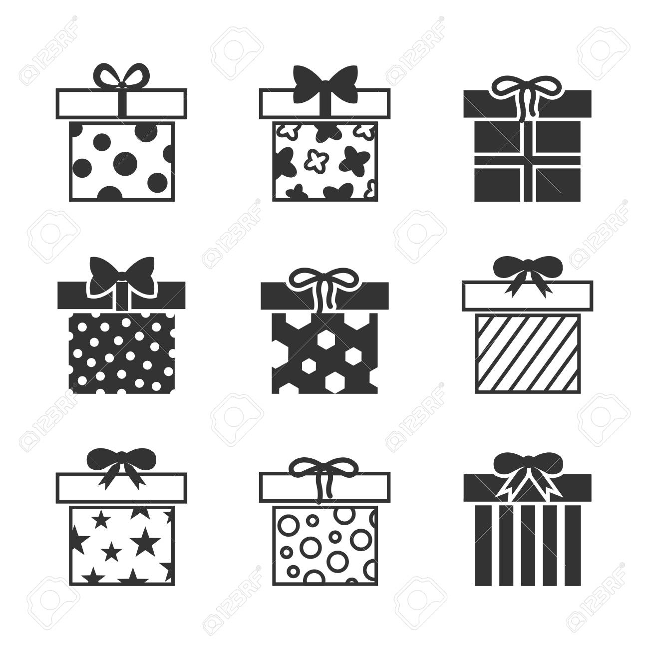 Gift boxes vector icons set in black and white color  Monochrome