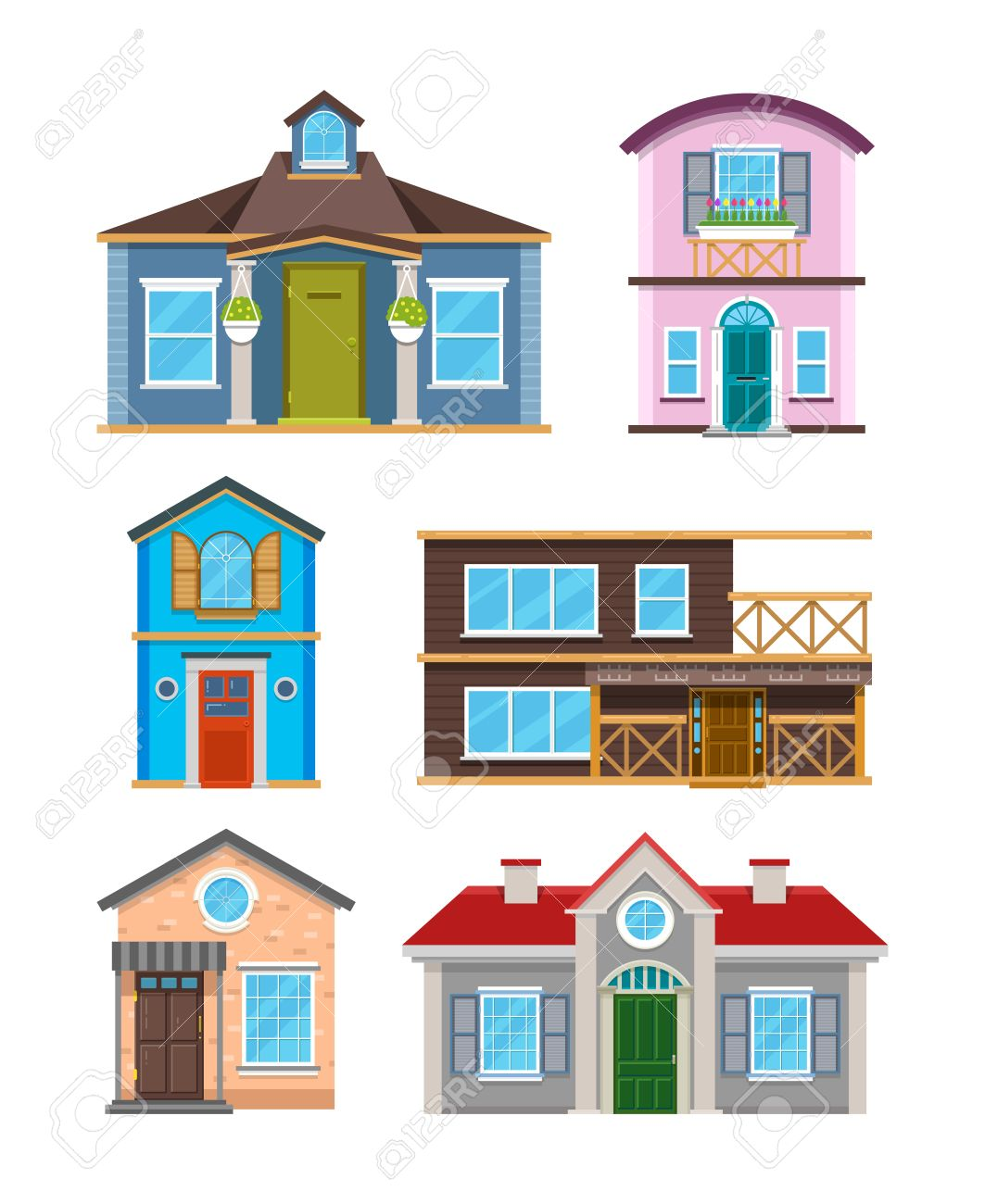 Modernes Wohngebäude Häuser Cartoon-Vektor-Sammlung. Architektur ...
