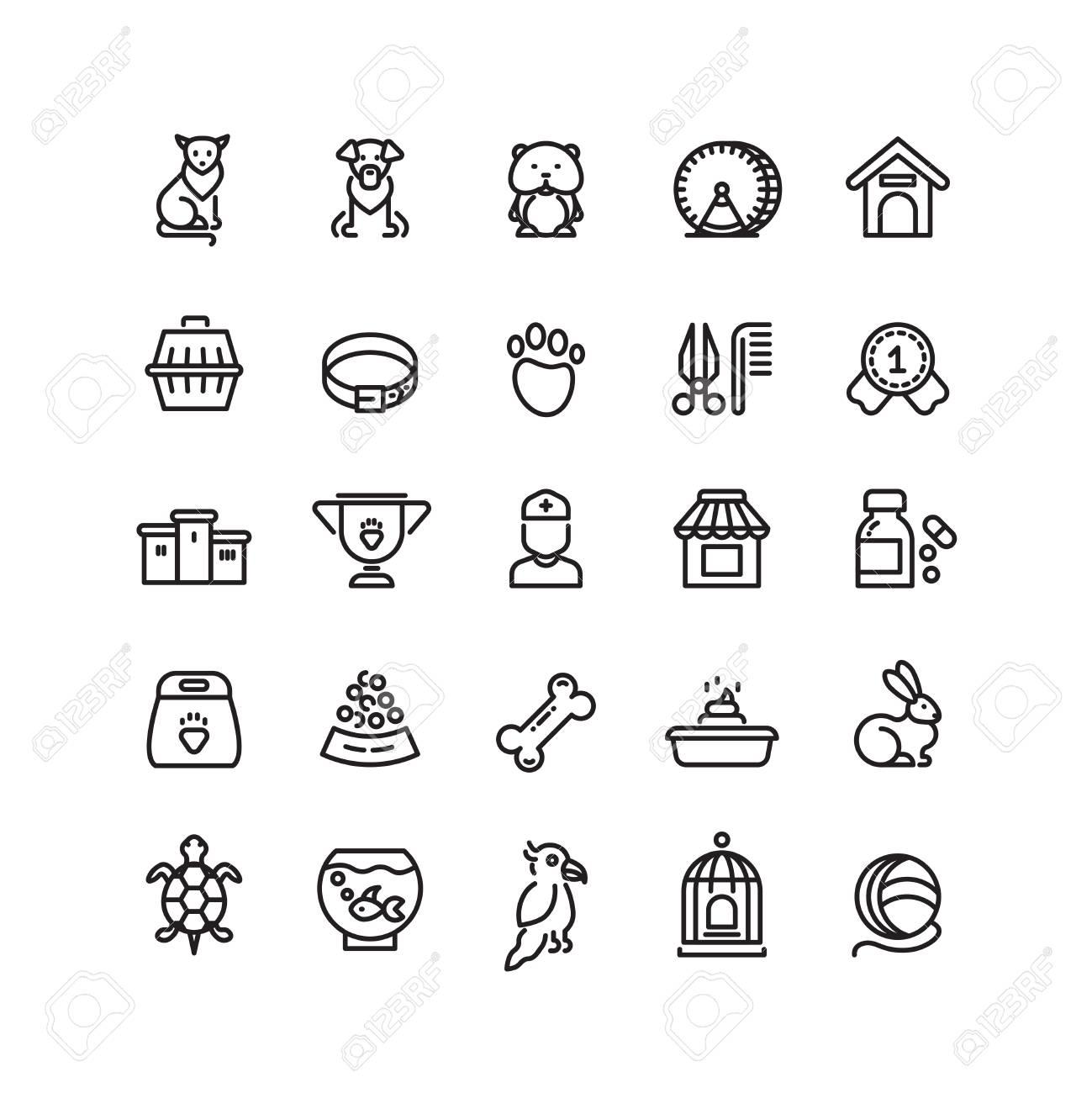 Pet Shop Animals Thin Line Vector Icons Outline Vet Symbols