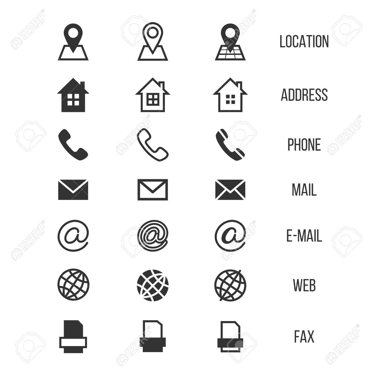 Business Card Vector Icons Home And Phone Address And Telephone
