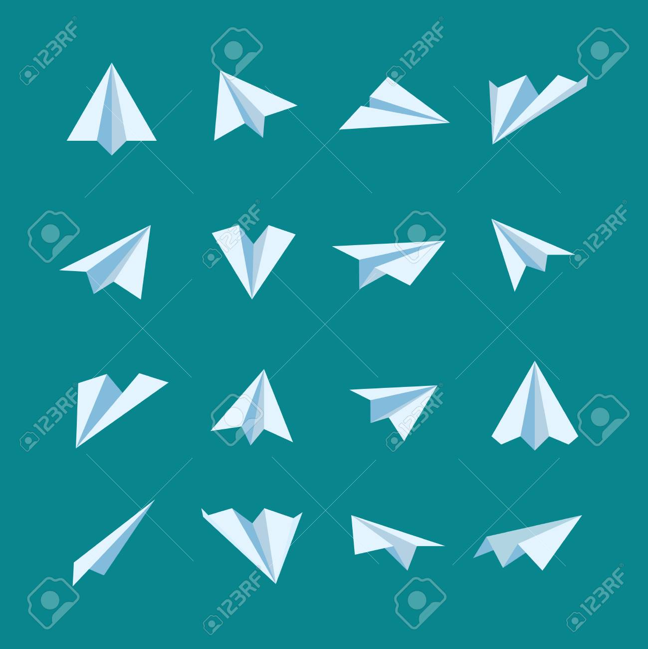 Paper Planes Flat Vector Icons Set Origami Airplane And Aircraft Illustration Stock