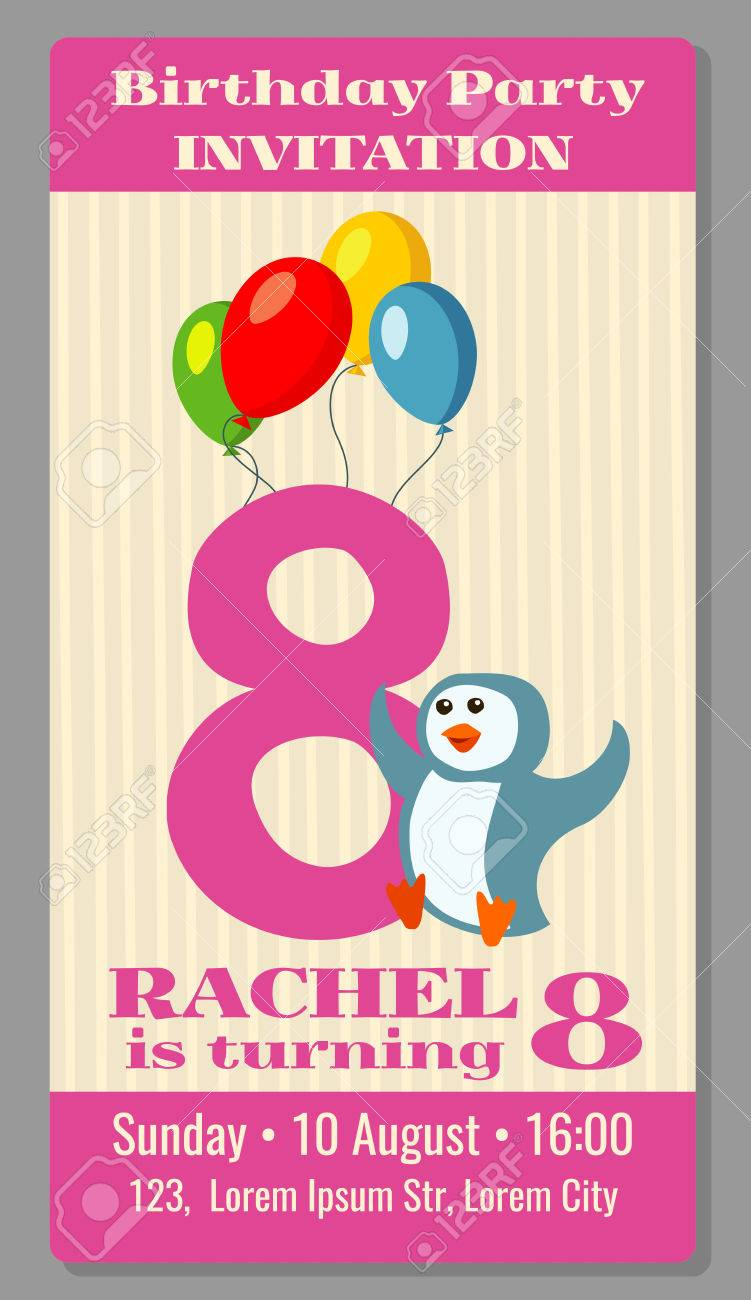kids birthday party invitation card with funny penguin vector
