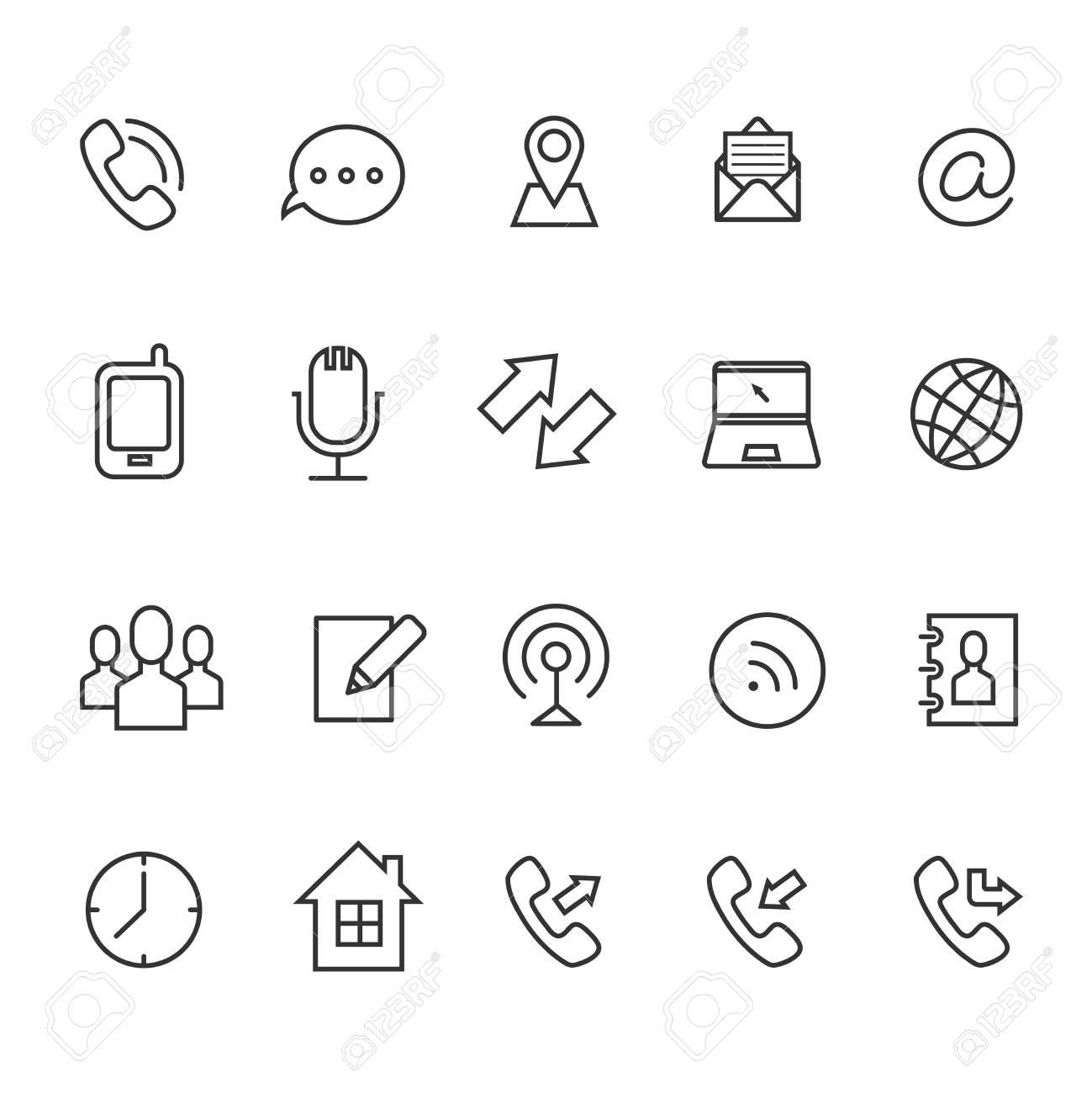 Icones Vectorielles De Communication Ligne Pour Carte Visite