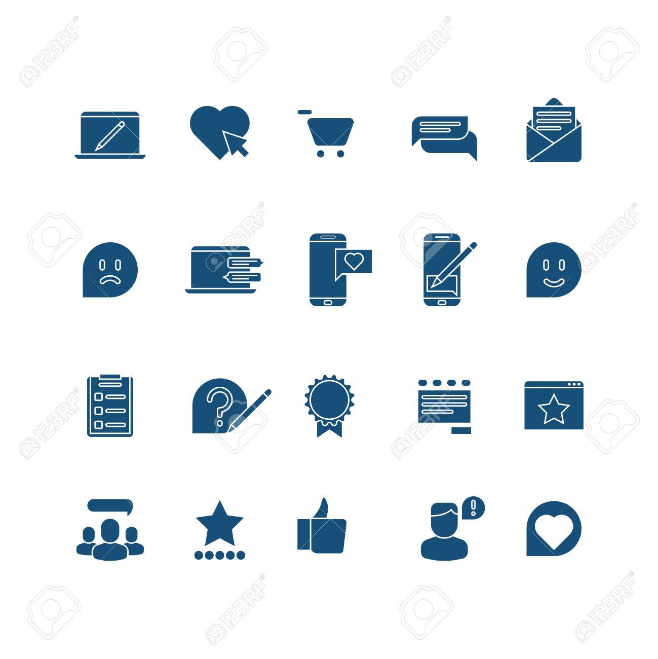 Customer Experience User Rating Testimonials Vector Icons Set Feedback From Client Illustration Stock