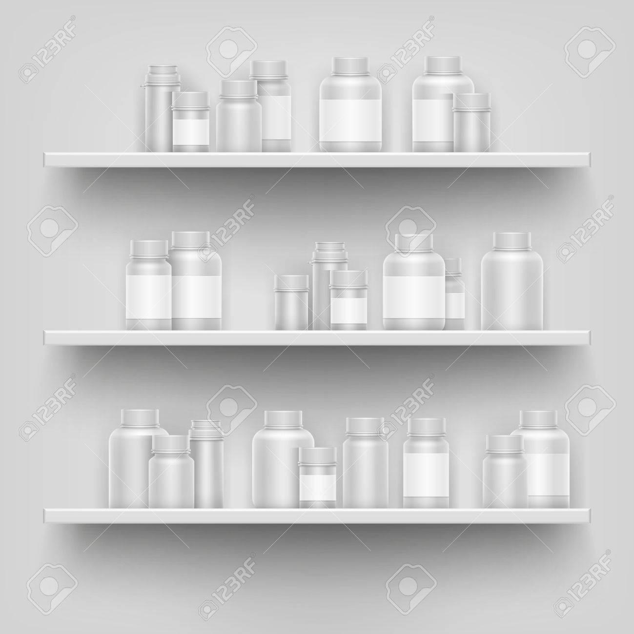 Realistic White 3d Medicine Blank Bottle For Pills On Pharmacy ...