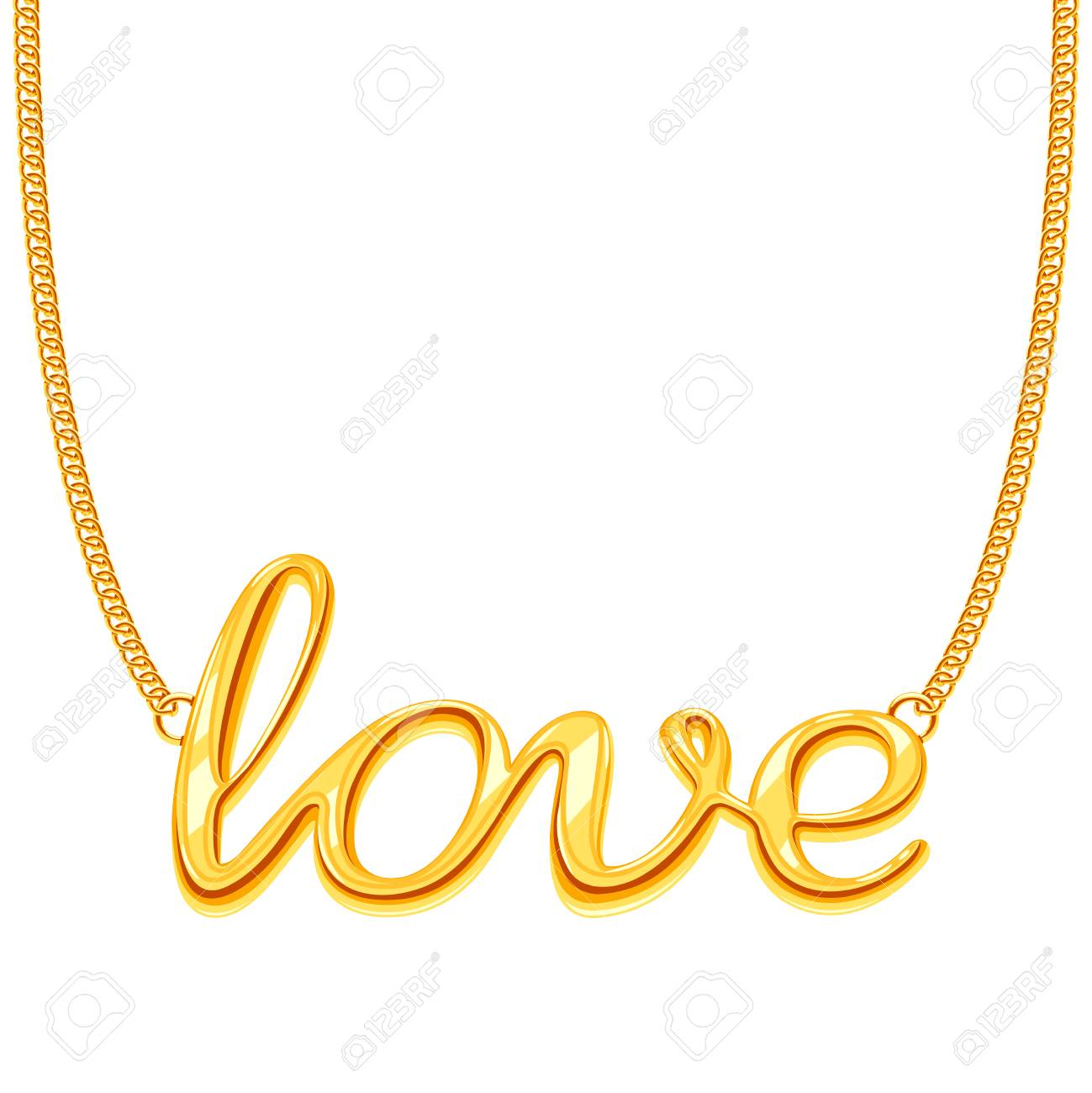 Gold Chain Necklace With Love Word Pendant Vector Il Ration Golden Decoration Jewellery Stock Vector