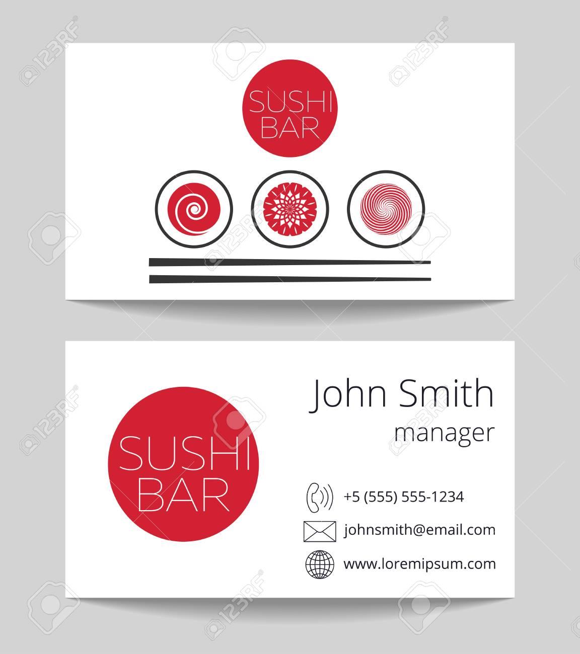 Japonais Sushi Bar Carte De Visite Des Deux Cts Vector