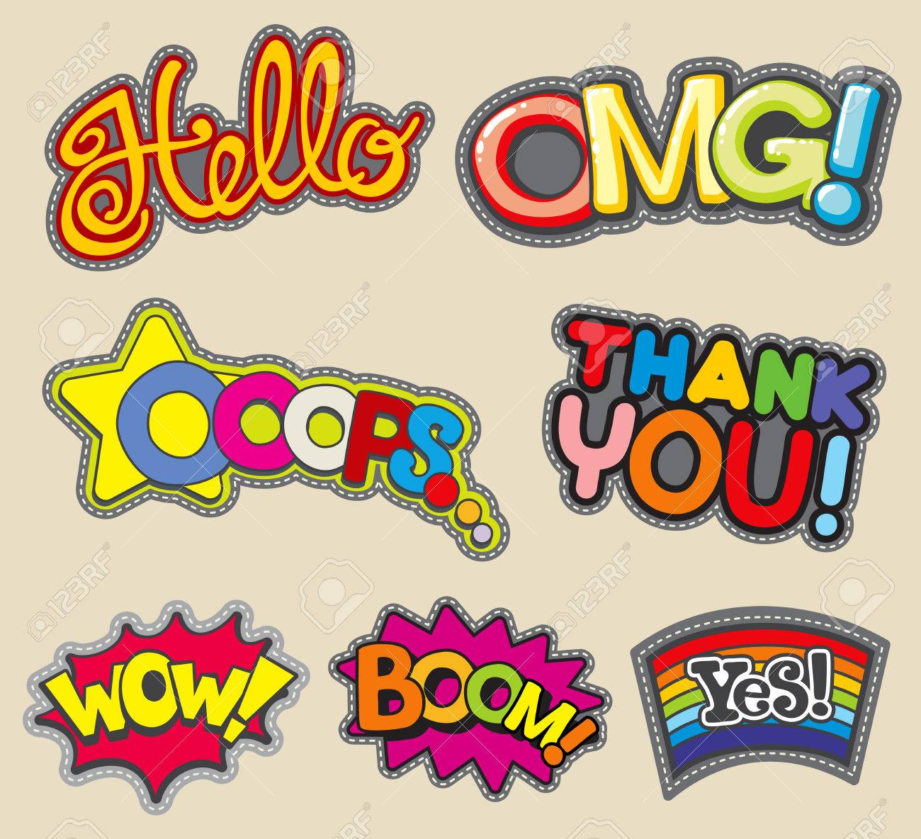 Vector vector internet words embroidery stitched badges fashion stickers thank you and wow boom and hello omg and yes illustration