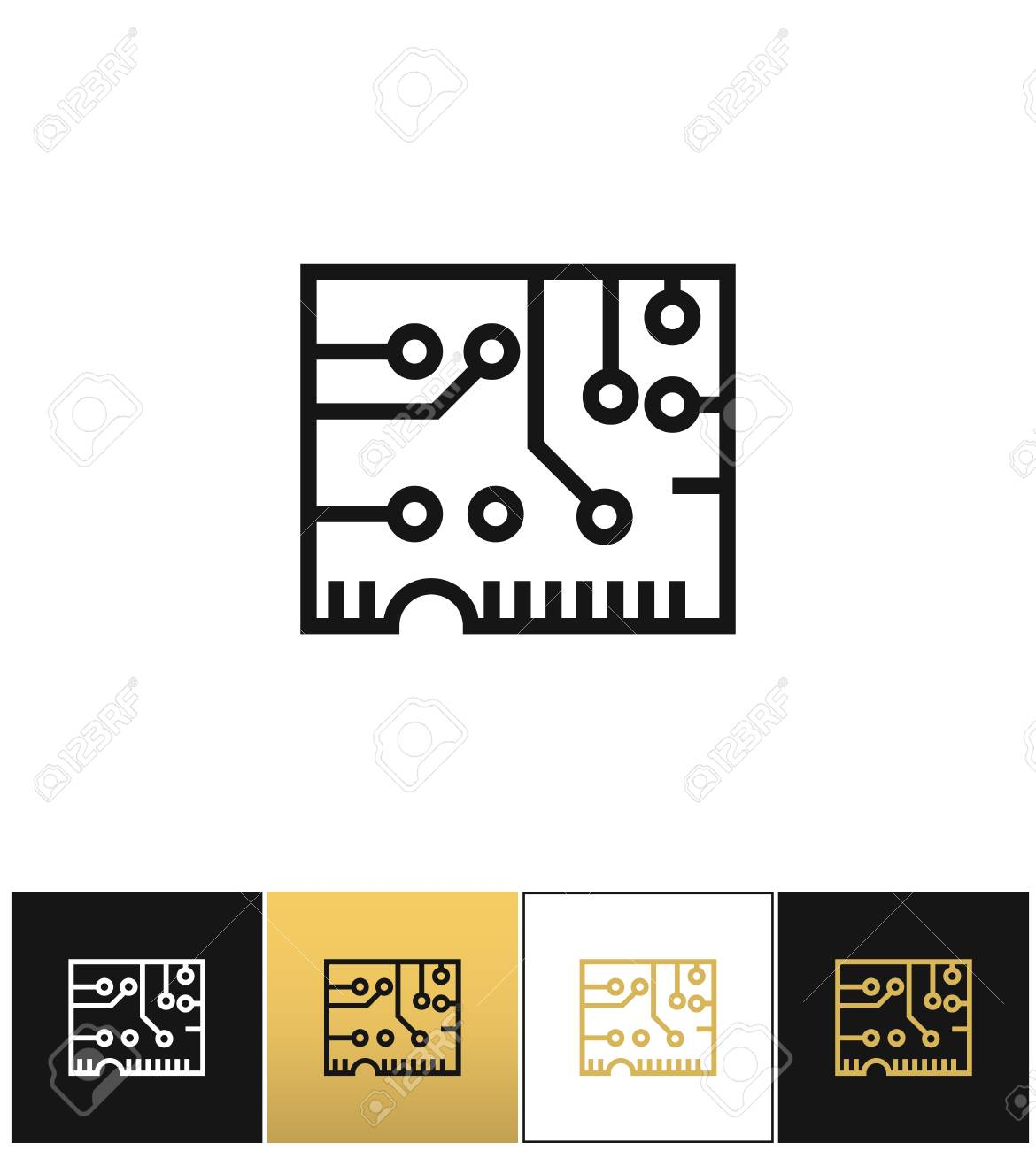 Electronics Computer Circuit Chip Vector Icon. Electronics Computer ...