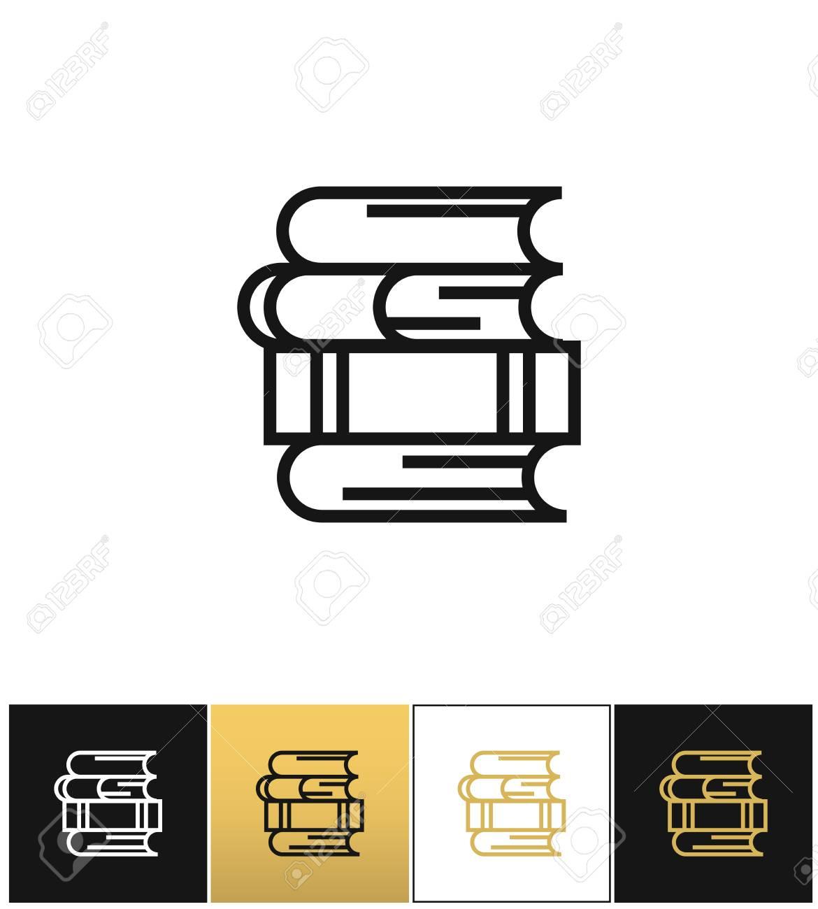 Pile De Livres Lineaire Pour Etude Et Icone De Vecteur De Bibliotheque Pile De Livres Lineaire Pour Etude Et Pictogramme De Bibliotheque Sur Fond