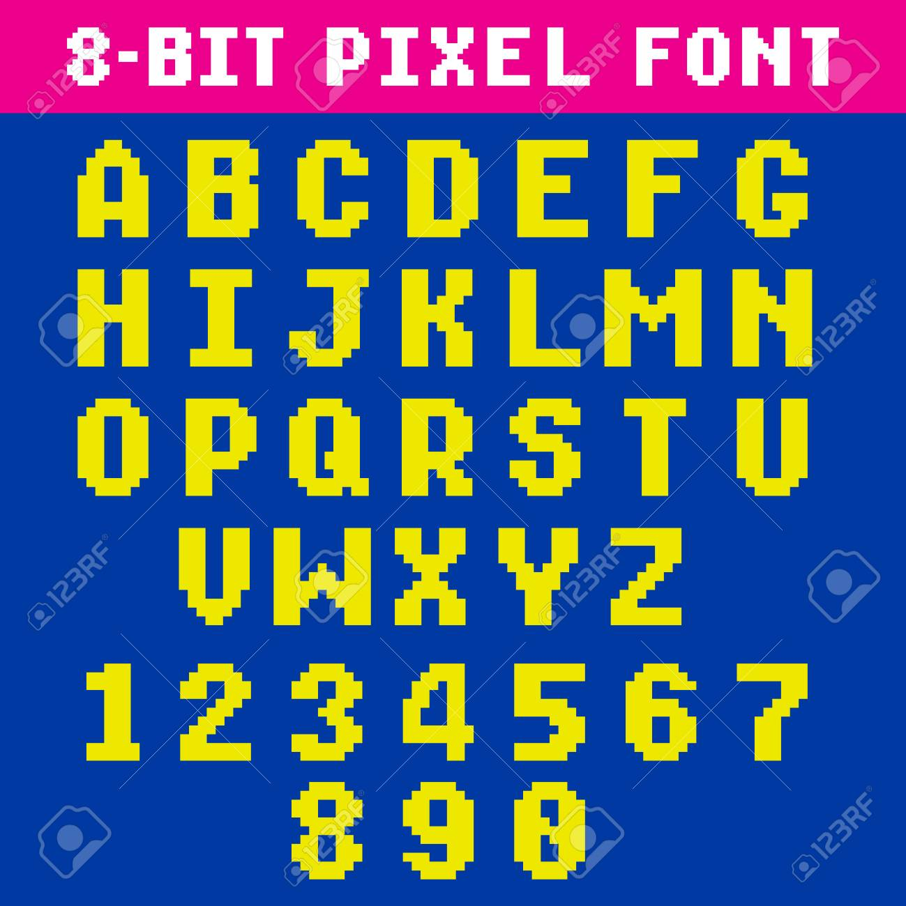 Retro Video Game Pixel Letters And Numbers Font Digital Alphabet Type