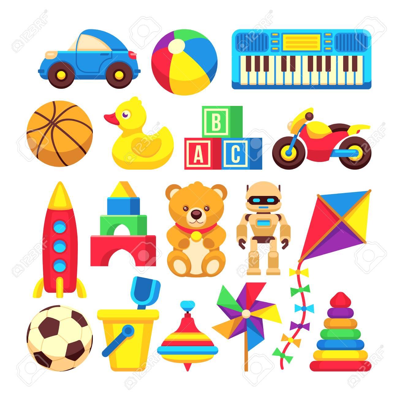 漫画の子供おもちゃベクター アイコン白で隔離 漫画赤ちゃんおもちゃボールとクマ 面白いおもちゃゲームのイラストのイラスト素材 ベクタ Image