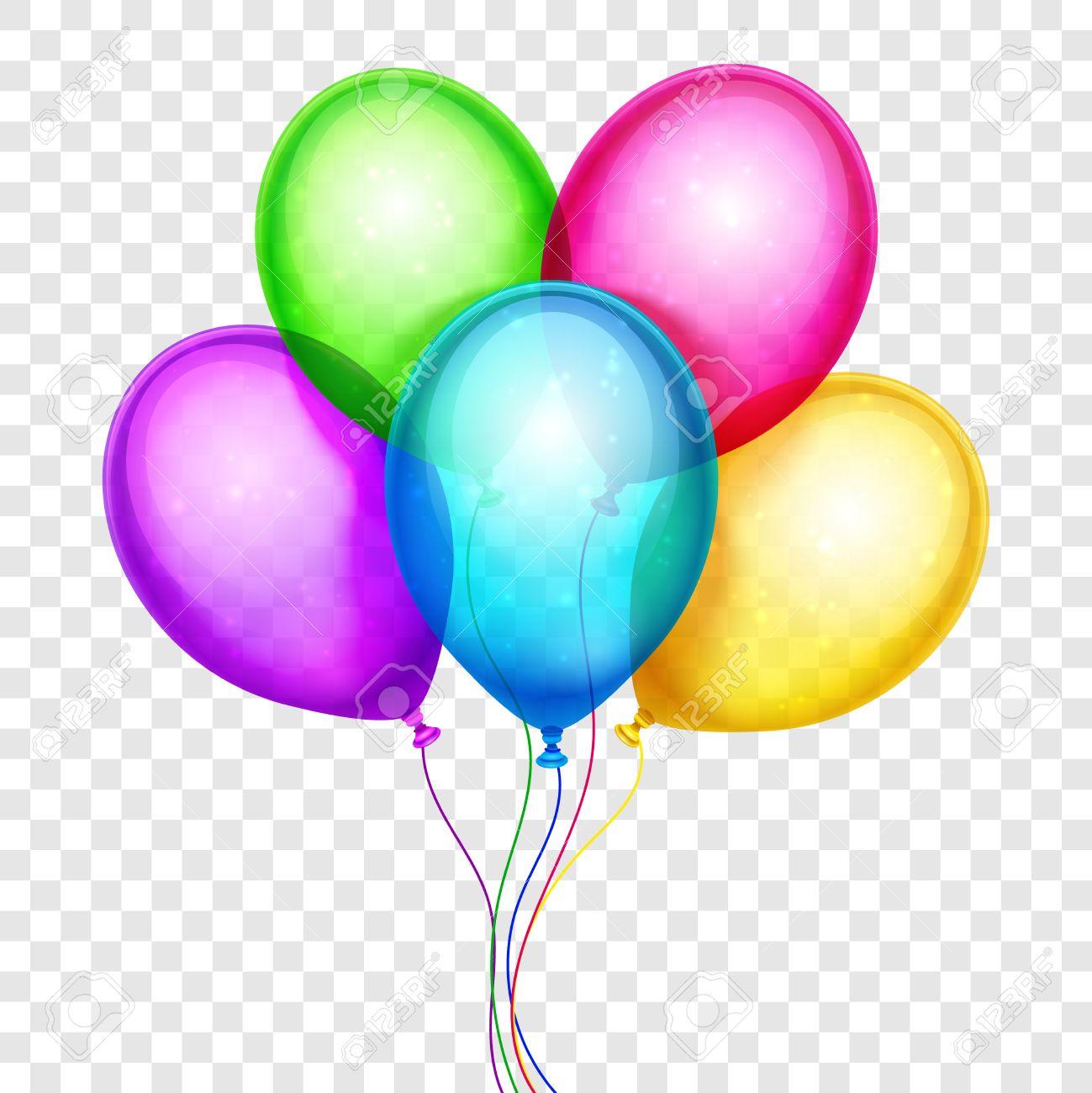 Globos De Colores Vector, Decoración De Cumpleaños Aislado En El ...
